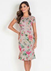 Vestido Tubinho Floral Bege Moda Evangélica