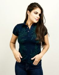 Camisa Gola Polo Feminina Listra Floral